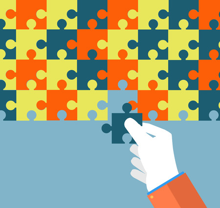 Person making a puzzle. A hand puts proper puzzle. Businessman assembling jigsaw puzzle. Business concept Illustration