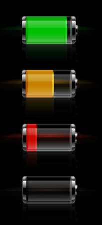 Set of detailed glossy transparent battery level indicator icons