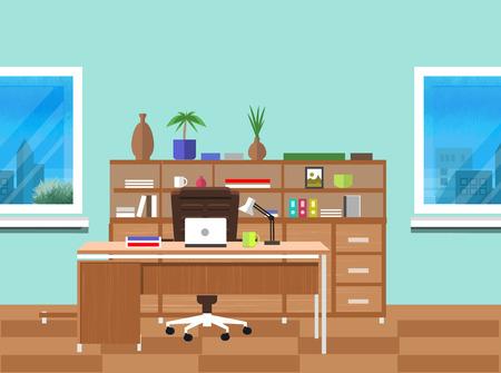 Interior de la oficina moderna con el diseño de escritorio de diseño plano. Espacio de trabajo moderno del asunto en la oficina con ventana Ilustración de vector
