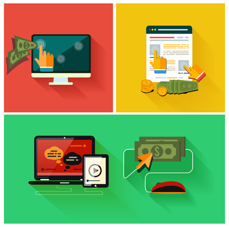 clicked: Pay per click internet advertising model when the ad is clicked. Set for web and mobile applications in modern flat design