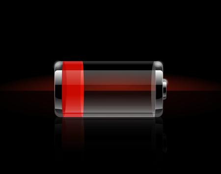 光沢のある透明なバッテリ アイコン。黒の背景に赤い充電終了