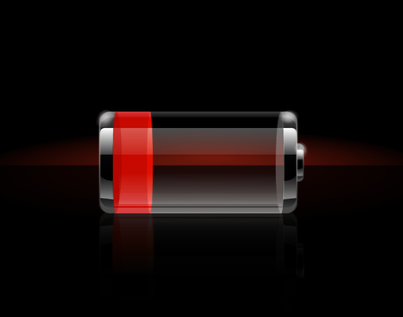 Glossy transparent battery icons. Ends in red battery charge on black background