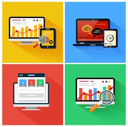 SEO-Optimierung, Programmierung und Web-Analyse-Prozess-Elemente. Set f�r das Web und mobile Anwendungen in der modernen Wohnung Design