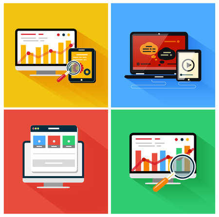 Seo optimization, programming process and web analytics elements. Set for web and mobile applications in modern flat design