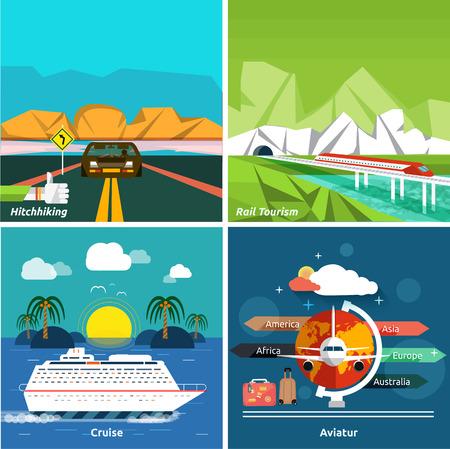 business travel: Icons Set von Reisen, planen einen Sommerurlaub, Tourismus und Reise Objekte und Passagiergep�ck in flacher Bauform. Verschiedene Arten von Reise wie Trampen, kreuzfahrt, Aviatur und Schienen Tourismus. Gesch�ftsreisen Konzept