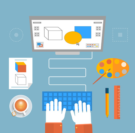 Computer monitor with the screen of the program for design and architecture in flat design. Designer sits for computer and does the work. Web design concept with concepts items icons