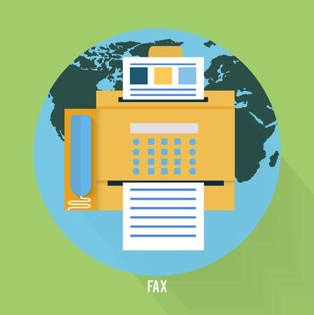 icono fax: Icono de Fax con el mapa en dise�o plano. Conjunto de aplicaciones web y m�viles de trabajo de oficina