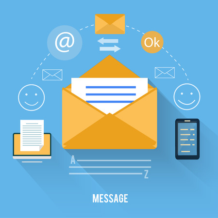Set for web and mobile applications of office work. Envelope with message and email technology Vector