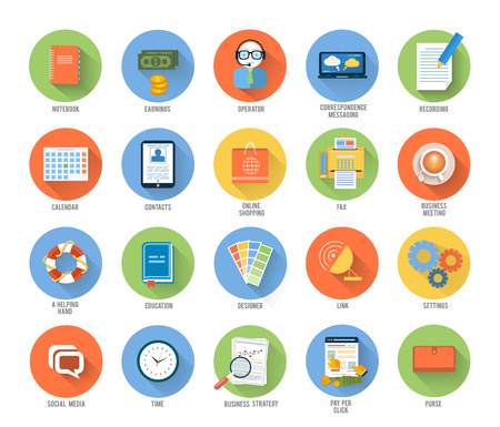 documentation: Set for web and mobile applications of office work, social media, seo search optimization, pay per click, analysis of documents, purse, time is money, support, designer, marketing concepts items icons in flat design