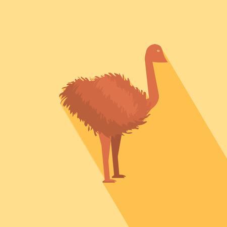 emu: Icono de avestruz con la sombra en el diseño plano Vectores