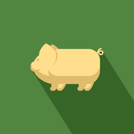 Pig icon with shadow in flat design Vector