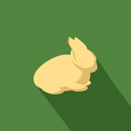Rabbit icon with shadow in flat design Vector