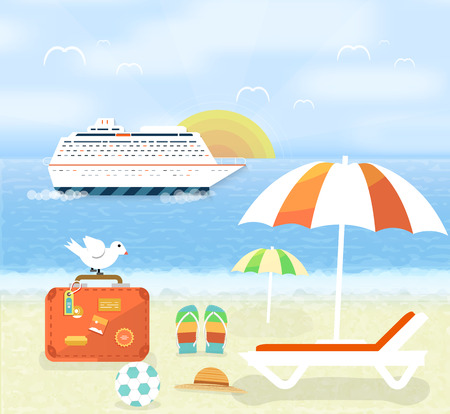 Icons set of traveling, planning a summer vacation, tourism and journey objects and passenger luggage in flat design. Different types of travel. Business world travel concept Vector
