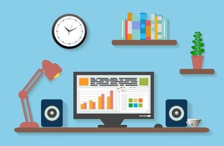 Modern office interior with designer desktop in flat design Illustration