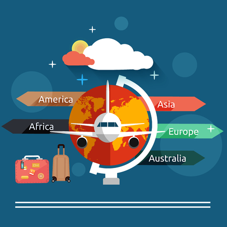 private jet: Aviator concept in flat design. Airplanes flying over the map in different countrys. Icons set of traveling, planning a summer vacation, tourism and journey objects and passenger luggage Illustration