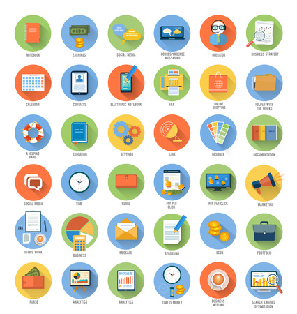 search optimization: Set for web and mobile applications of office work, social media, seo search optimization, pay per click, analysis of documents, purse, time is money, support, designer, marketing concepts items icons in flat design