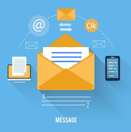 Web や事務作業のモバイル アプリケーションの設定します。メッセージとメール技術と封筒  イラスト・ベクター素材