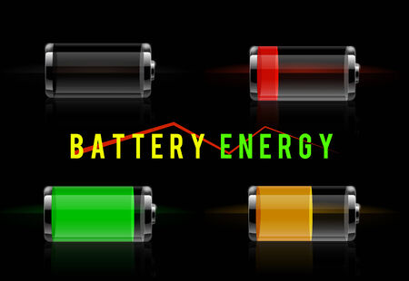 Set of detailed glossy transparent battery level indicator icons. Battery energy concept Vector