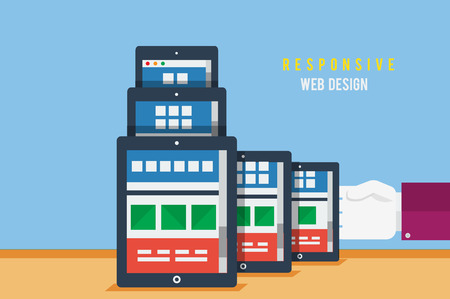 adaptive: Responsive web design concept. Concept for web and mobile applications of adaptive web design, business, office and marketing items icons