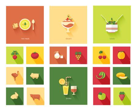 Restaurant menu in flat design. Set of food menu icons hot meals, dessert, salads and drinks Иллюстрация