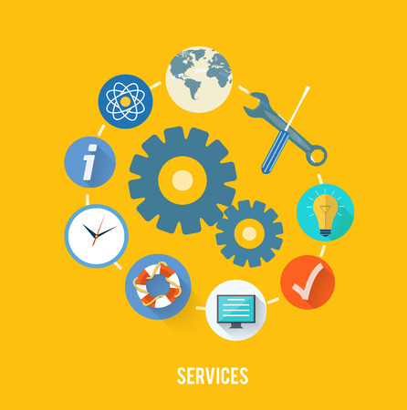 service center: Set for web and mobile applications of office work. Service concept with item icons Illustration
