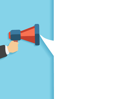 babble: Hand holding a red megaphone with white bubble. Business concept of marketing in flat design. White bubble speech in social communication concept