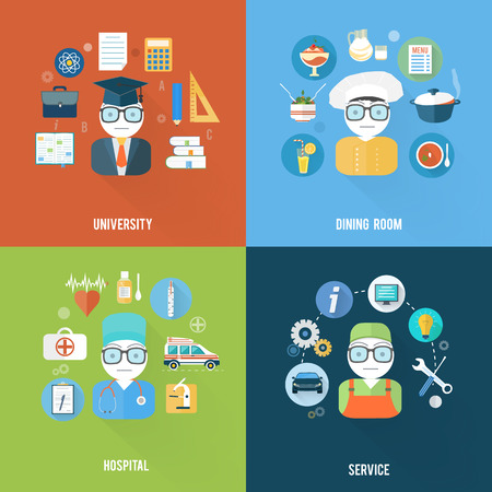 Set for web and mobile applications of office work Vector