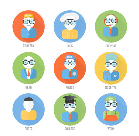 Set male faces circle icons of occupation in flat style Vector