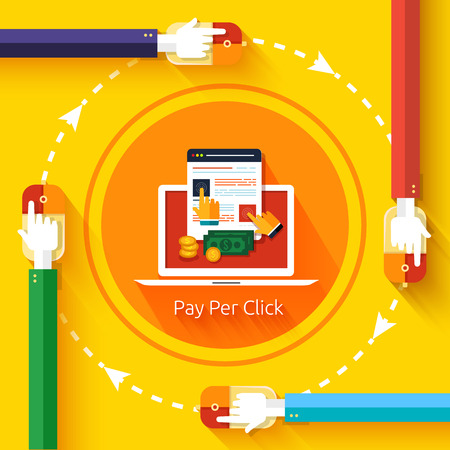 ad: Pay per click internet advertising model when the ad is clicked. Modern flat design