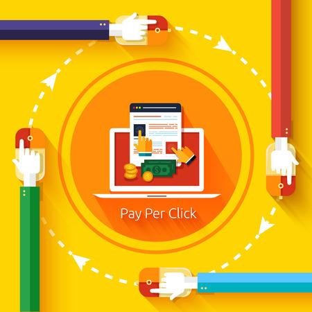 Pay-per-Click Werbung im Internet Modell, wenn die Anzeige angeklickt wird. Moderne Flach Design