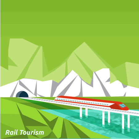 Rail tourism. Icons of traveling, planning a summer vacation, tourism and journey objects and passenger luggage in flat design. Business travel concept Vector