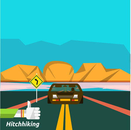 hitch hiker: traveling, planning a summer vacation, tourism and journey objects and passenger luggage in flat design