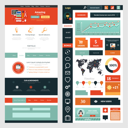Website page template. Web design. Set of web page with icons for different websites in flat style Vector