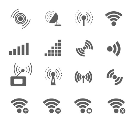remote access: Wireless and wifi icons in black color for remote access and communication via radio waves on white background. Set of different condition of connection network