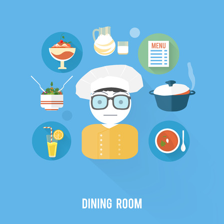 soup and salad: Kitchen concept with item icons. Cook with menu of drinck, salad, dessert, milk and soup in flat design style Illustration