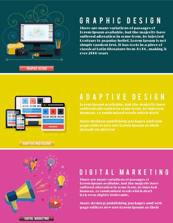 adaptive: Icons for graphic web design, social digital marketing and adaptive design in flat design