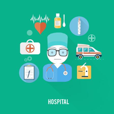 erste hilfe koffer: Arzt mit Erste-Hilfe-Set in flachen Design-Stil