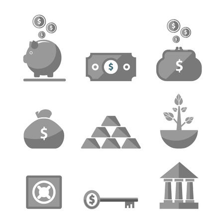 Money icons in black color on white background Vector