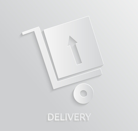 Delivery service 24 hours . Cargo truck symbol. App icon of the trolley with the goods which have delivered Vector