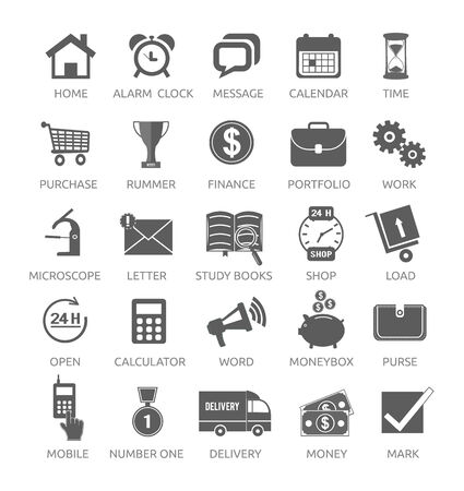 Icons for web and mobile applications on white background.