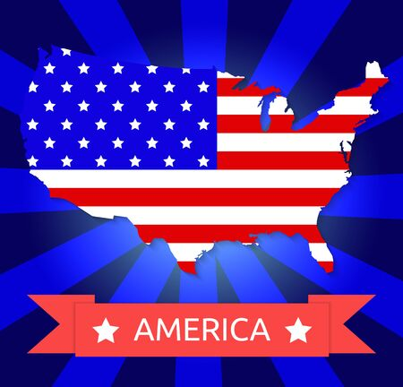 America flag on the American territory with text Vector