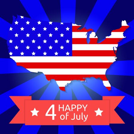 America flag on the American territory with text happy 4 of jule Vector