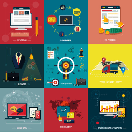 Icons for web design, seo, social media and pay per click internet advertising, e-commerce, business, management, delivery, online shop in flat design Vector