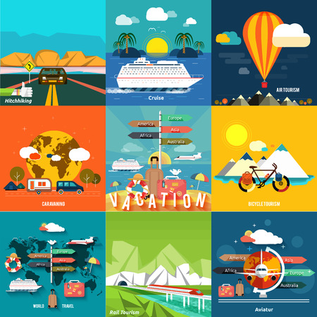 Icons set of traveling, planning a summer vacation, tourism and journey objects, hitchhiking and passenger luggage in flat design. Different types of travel. Business travel concept Vettoriali