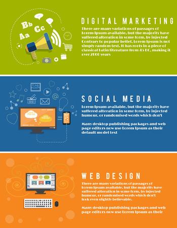 Icons for web design, seo, social media, digital marketing in flat design