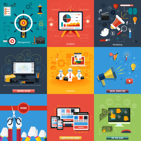 Icons for web design, seo, social media and pay per click internet advertising, analytics, business, management, marketing, adaptive design, digital marketing  in flat design Illustration