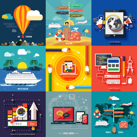 flying boat: Icons for web design, seo, social media and pay per click internet advertising and icons set of traveling, planning a summer vacation in flat design