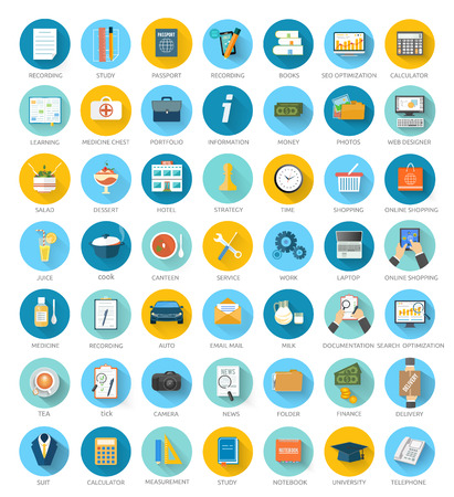 search optimization: Big set for web and mobile applications of office work, social media, seo search optimization, online shopping, analysis of documents, purse, time is money, support, designer, marketing concepts items icons in flat design Illustration