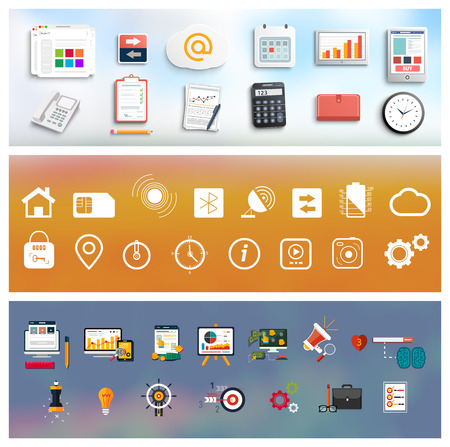 Workplace office and business work elements set in flat design style. Mobile devices and documents icons. Set for web and mobile applications of office work on blur backround Illustration