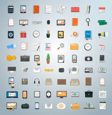 financial management: Set of various financial service items, business management symbol, marketing items and office equipment